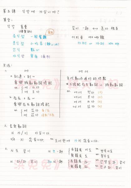 韓文第五課